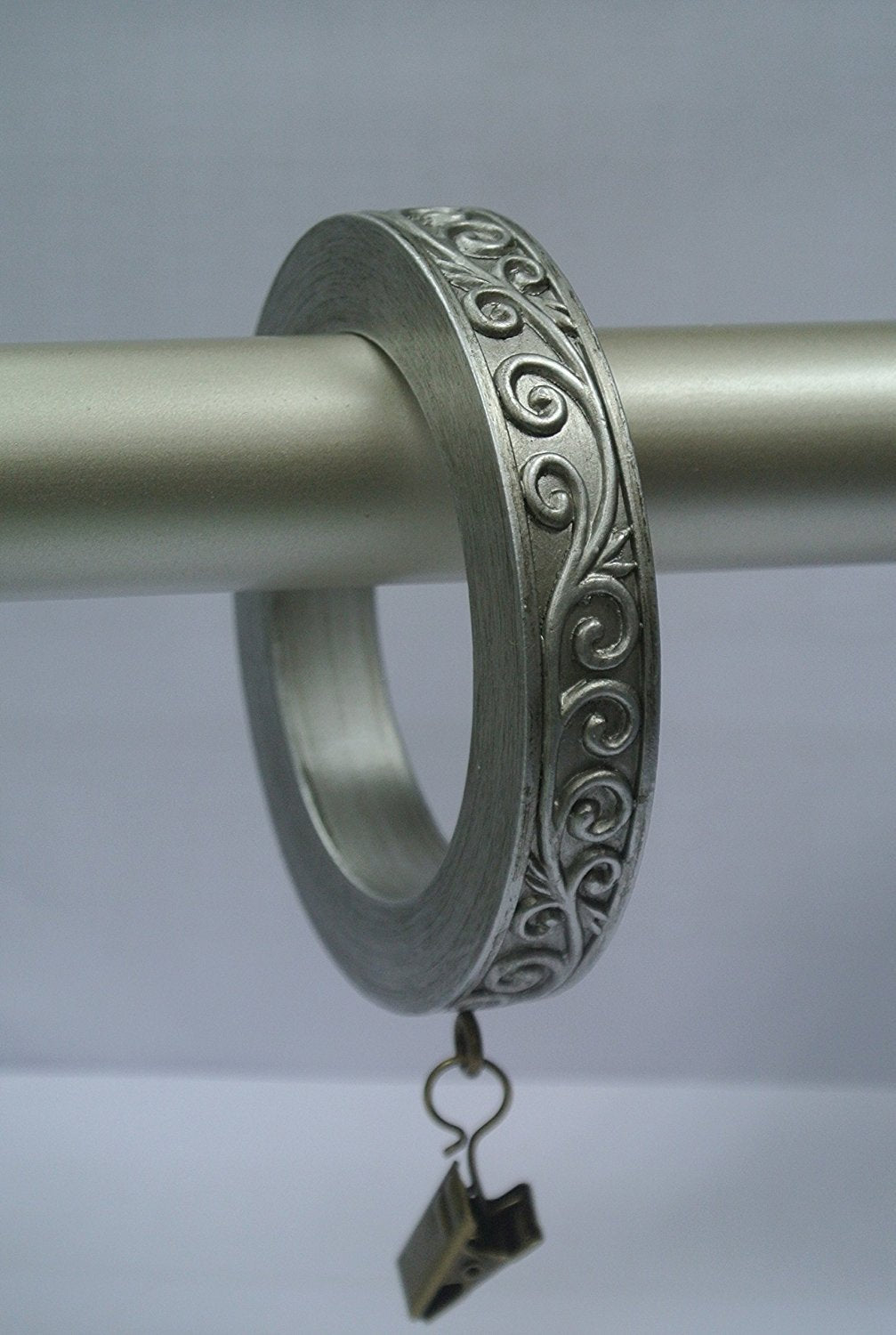 Set of 8 Large Scroll Designer Curtain Rings in Pewter