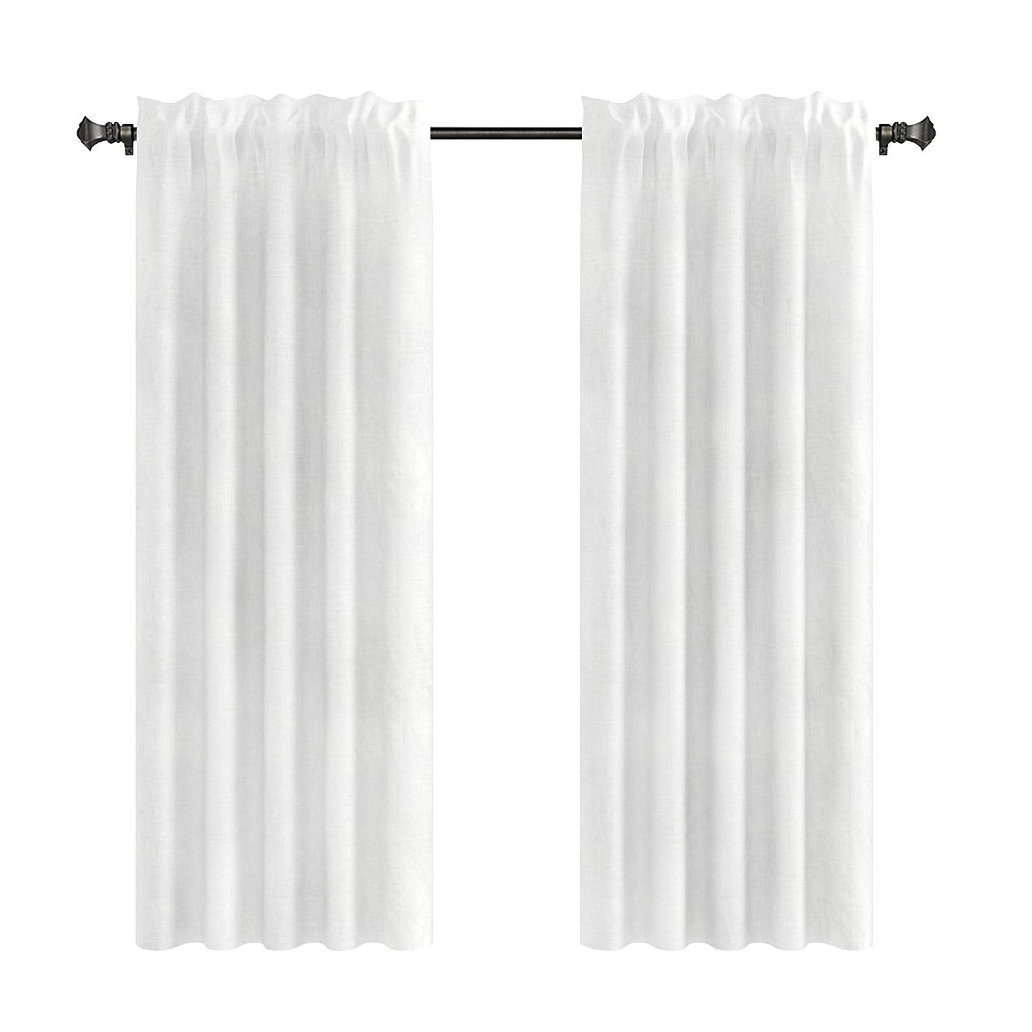 Pair of 2 Drapery Curtain Panels, Unlined, 100% Linen, 7 Colors, 3 Sizes