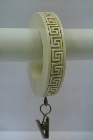 Set of 14 Greek Key Designer Curtain Rings in Ivory
