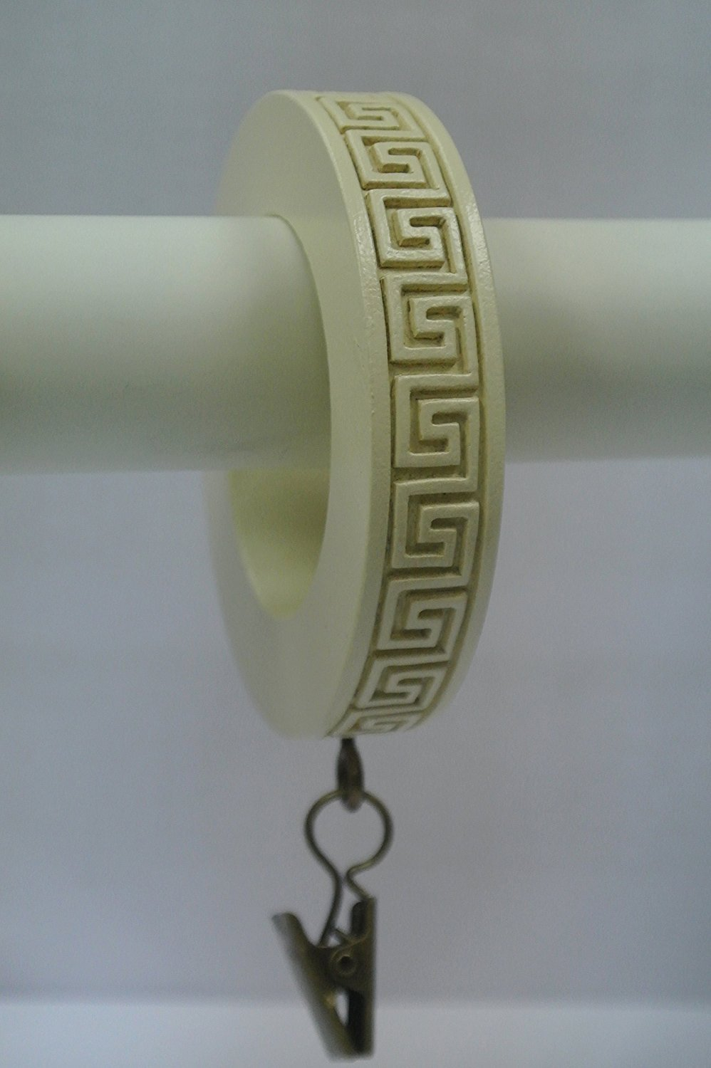 Set of 7 Greek Key Designer Curtain Rings in Ivory