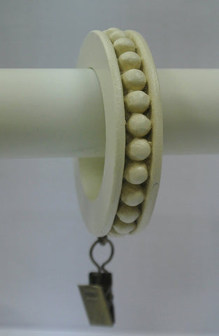 Set of 14 Beaded Edge Designer Curtain Rings in Ivory