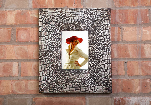 "Ornate Rectangle Metal Photo Frame, Alligator Skin Texture, Bronze Finish, 13""x11"""
