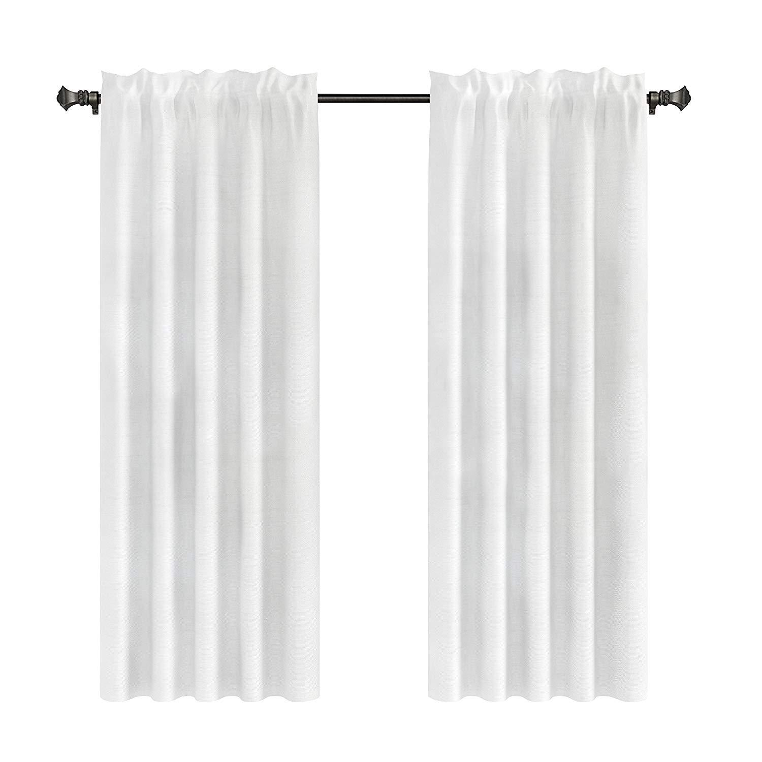 Pair of 2 Faux Silk Drapery Curtain Panels with Lining(two Panels), 5 Colors, 3 Sizes