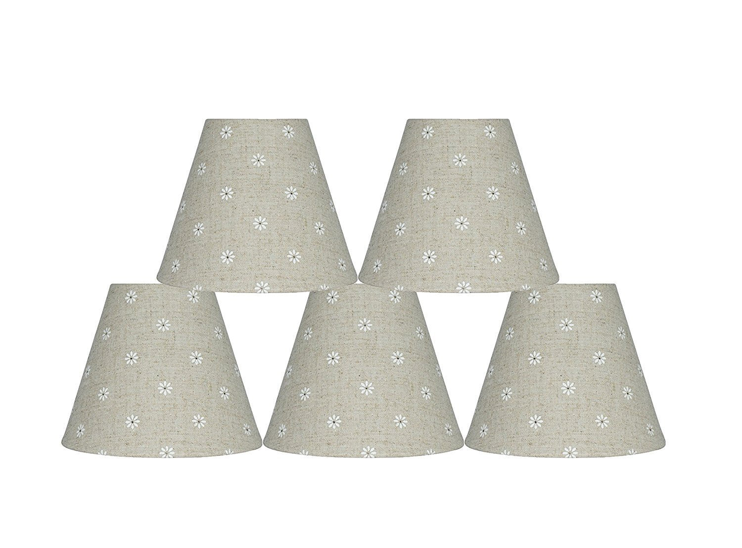 Natural Linen with Daisies 6-inch Chandelier Lamp Shade