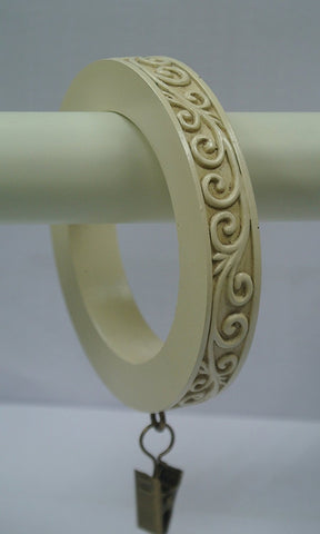 Set of 8 Large Scroll Designer Curtain Rings in Ivory