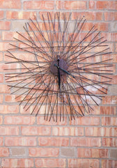 "Metal Wire Sticks Wall Clock 28"" Bronze W/ Gold Highlight"