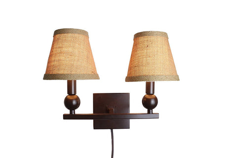 Zio Double Bulb Cord Wall Sconce with Burlap Hardback Shades