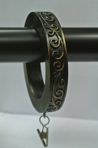Set of 4 Large Scroll Designer Curtain Rings in Burnt Gold