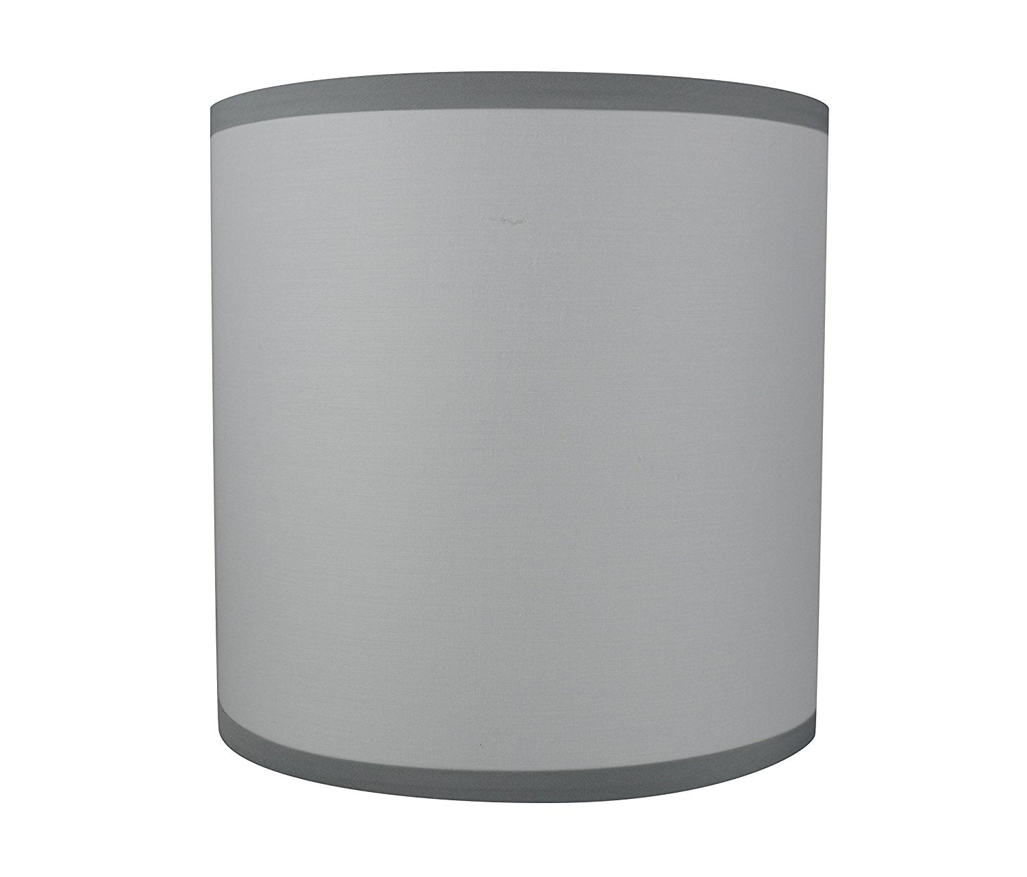 Cotton Classic Drum Lampshade with Gray Trim