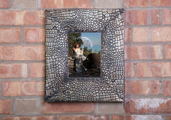 "Ornate Rectangle Metal Photo Frame, Alligator Skin Texture, Bronze Finish, 14""x12"""