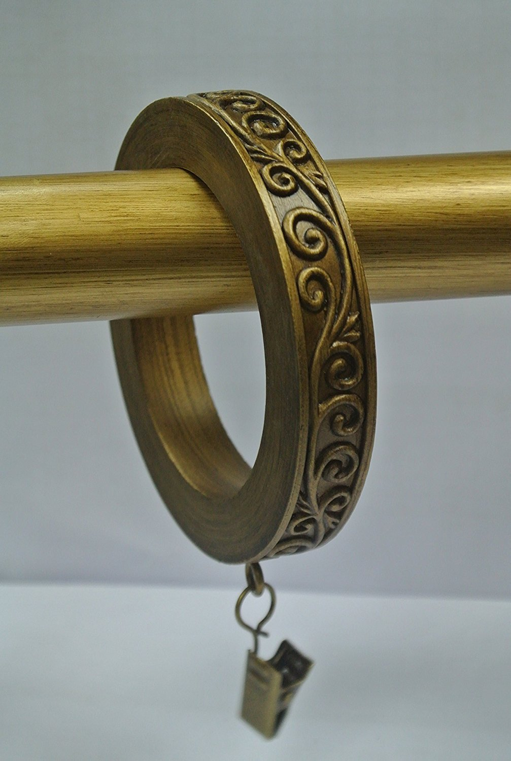 Set of 8 Large Scroll Designer Curtain Rings in Renaissance Gold