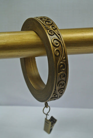 Set of 4 Large Scroll Designer Curtain Rings in Renaissance Gold