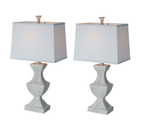 Set of 2 Avignon Table Lamps, Weathered White