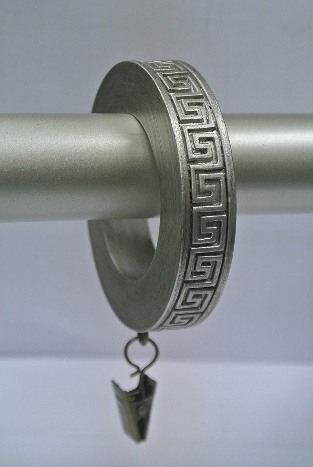 Set of 7 Greek Key Designer Curtain Rings in Pewter