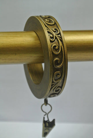 Set of 14 Scroll Designer Curtain Rings in Renaissance Gold