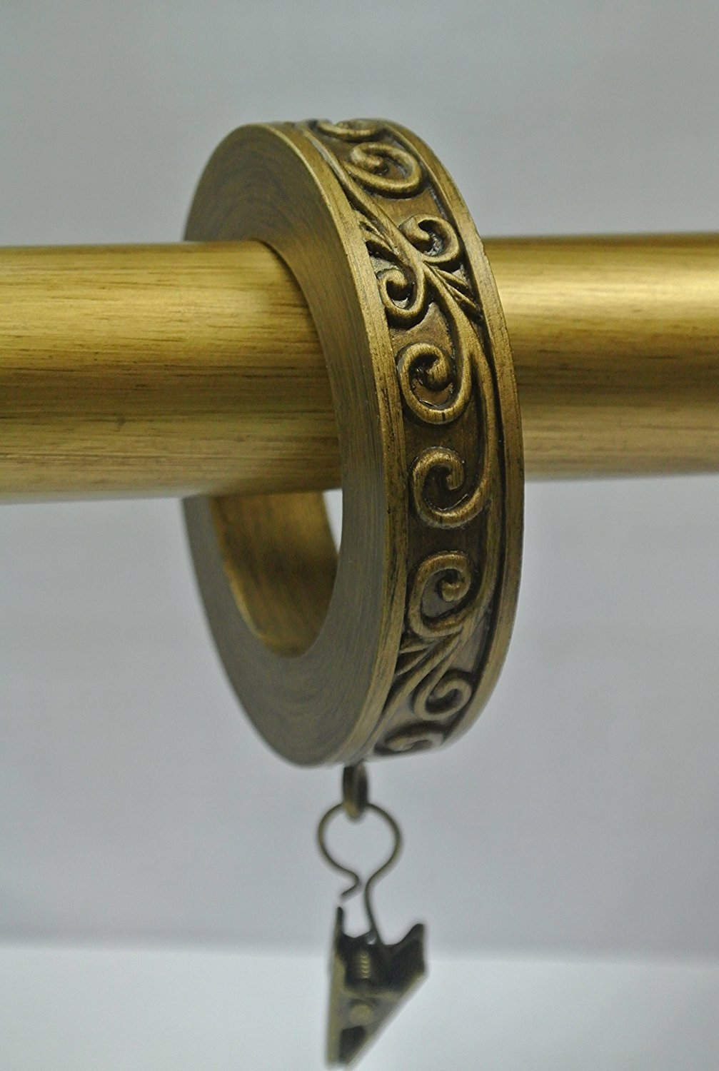 Set of 7 Scroll Designer Curtain Rings in Renaissance Gold