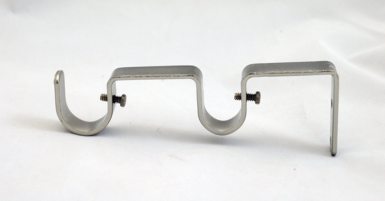 "Double Curtain Rod Bracket for 1"" and 3/4"" Rod, Brushed Steel, 1 pcs."