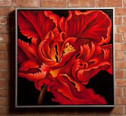 "Framed Stretched Lily I Oil Painting 29""x29"""