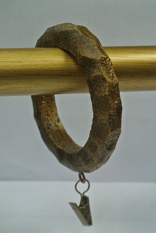 Set of 4 Large Hammered Designer Curtain Rings in Renaissance Gold Finish
