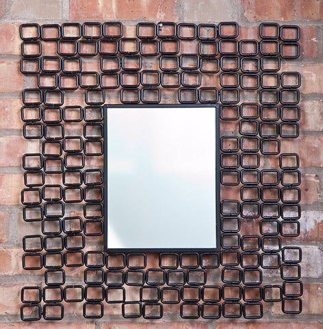 "Industrial Modern Square Metal Link Mirror 20""x21.5"""