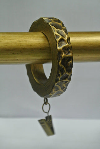 Set of 7 Hammered Designer Curtain Rings in Renaissance Gold Finish