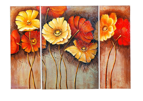 "Framed Stretched Blooming Poppy Flowers Oil Painting 40""x27.5""h"