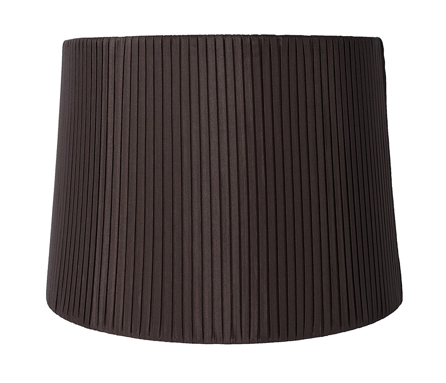 "Faux Silk Box Pleated Drum Lampshade, 12x14x10"", Chocolate, Spider Fitter"