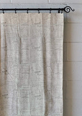 Set of 2 French Scripted Linen Designer Drapery Curtain Panels, Cream, Unlined