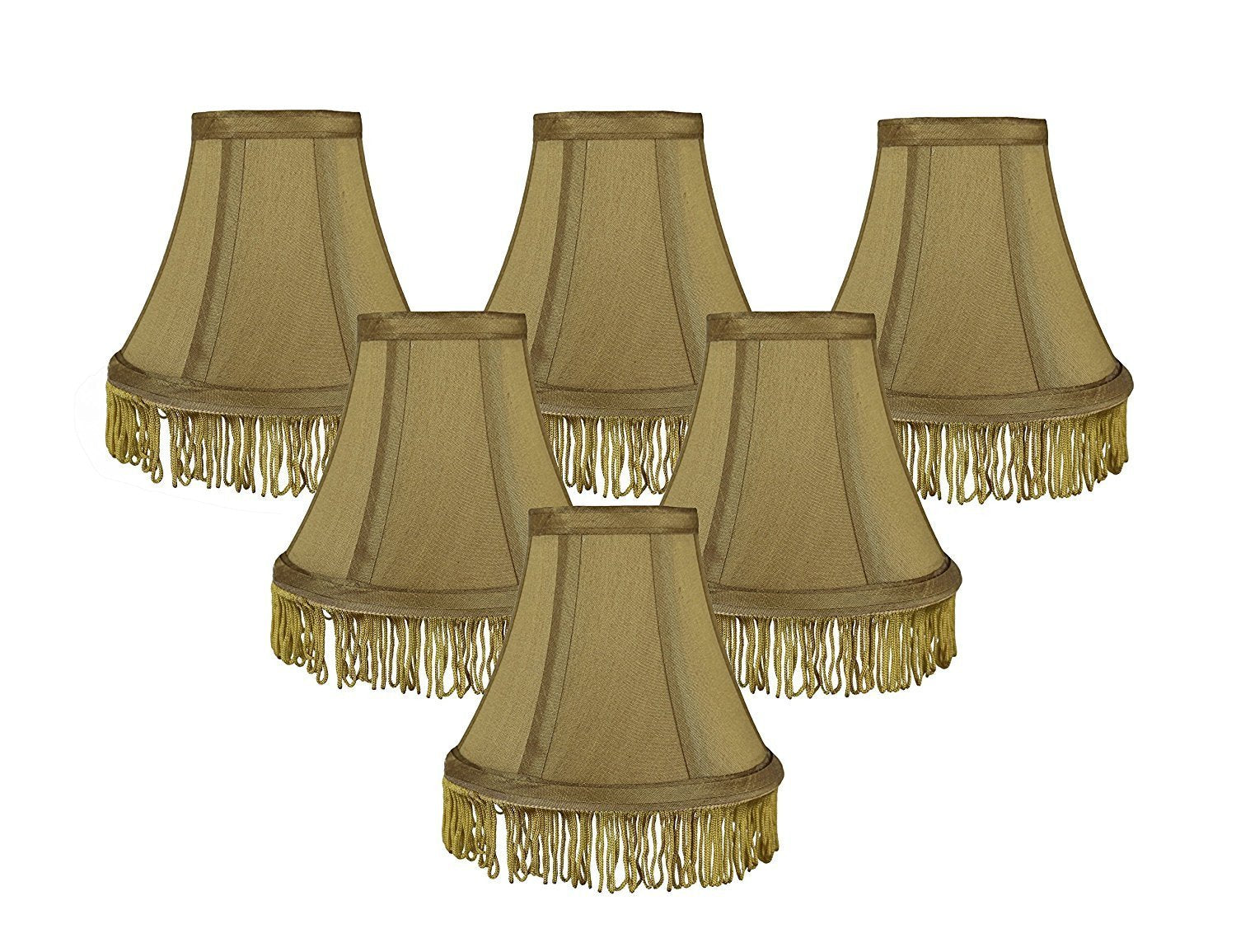Silk 6 Inch Bell With Fringe Chandelier Lamp Shade   5 Colors