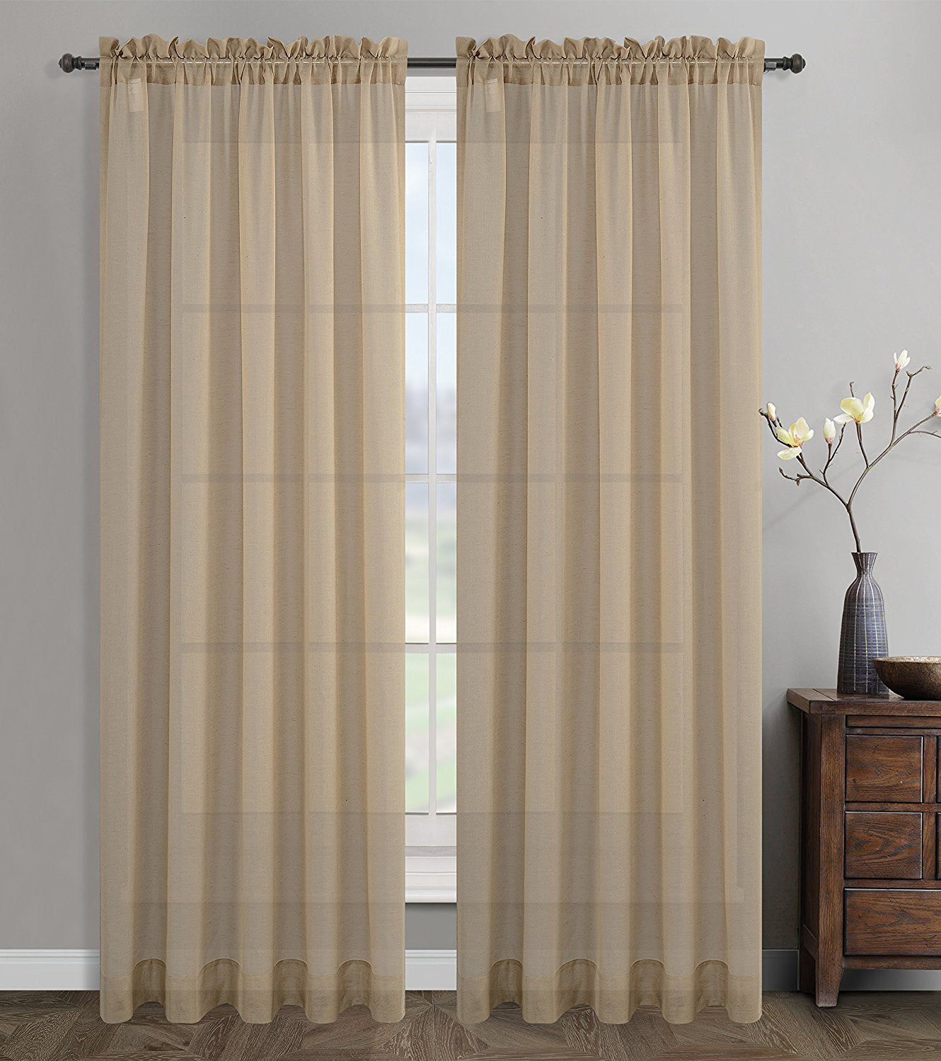 rod window solid panels sheer home products gray curtain aki pocket