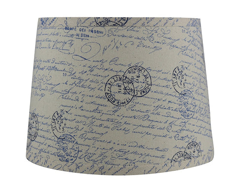 French Drum Lampshade with Script, Linen