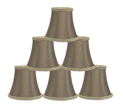 Silk Bell 5-inch Chandelier Lamp Shade with Braided Trim - 7 Colors