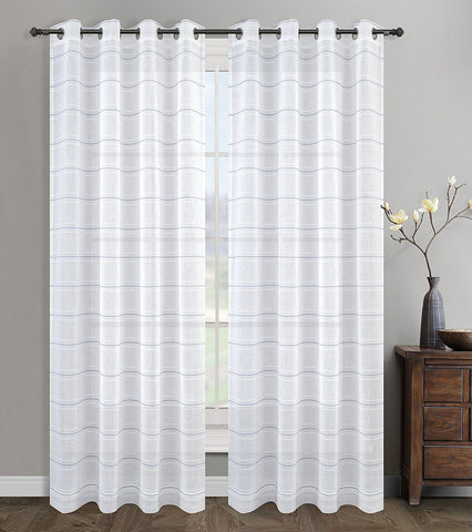 Chamon Sheer Curtain Drapery Panels with Grommets - 5 Colors