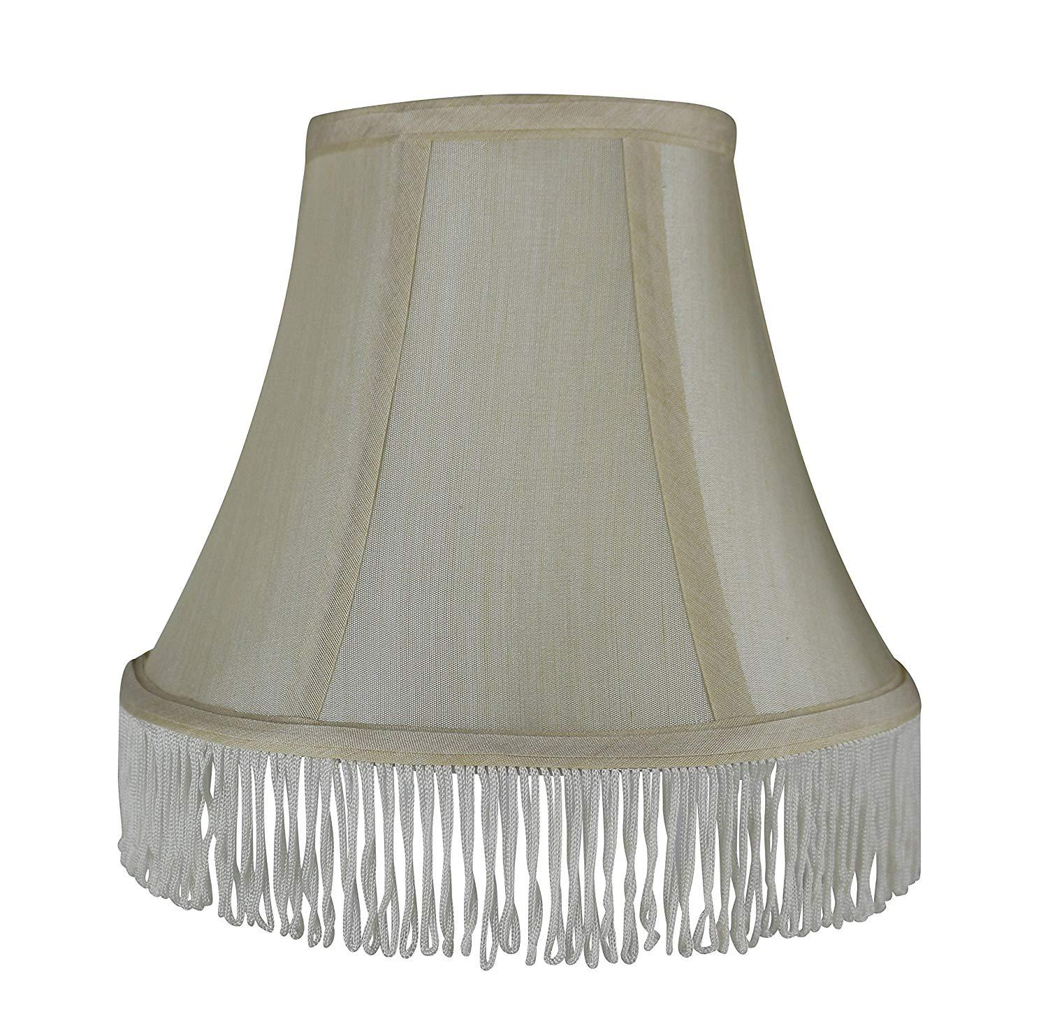Silk Bell Lamp Shade with Fringe, Spider-fitter, 5-inch by 9-inch by 7-inch
