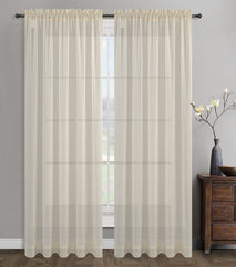 Sahara Linen Sheer Curtain Drapery Panels, Rod Pockets - 3 Colors