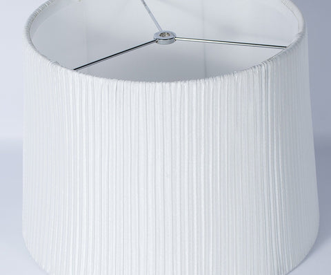 "Faux Silk Box Pleated Drum Lampshade, 10x12x8.5"", Off White, Spider Fitter"
