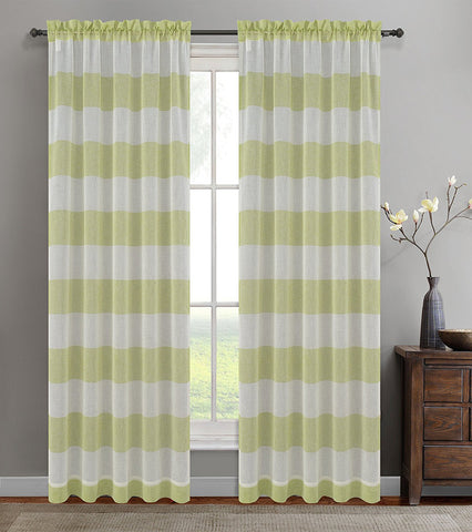 Nassau Faux Linen Sheer Striped Curtain Panels with Rod Pocket - 7 Colors