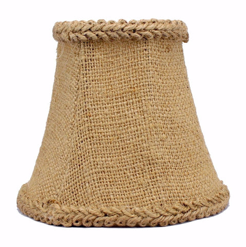 Burlap 5-inch Chandelier Mini Lamp Shade with Braided trim