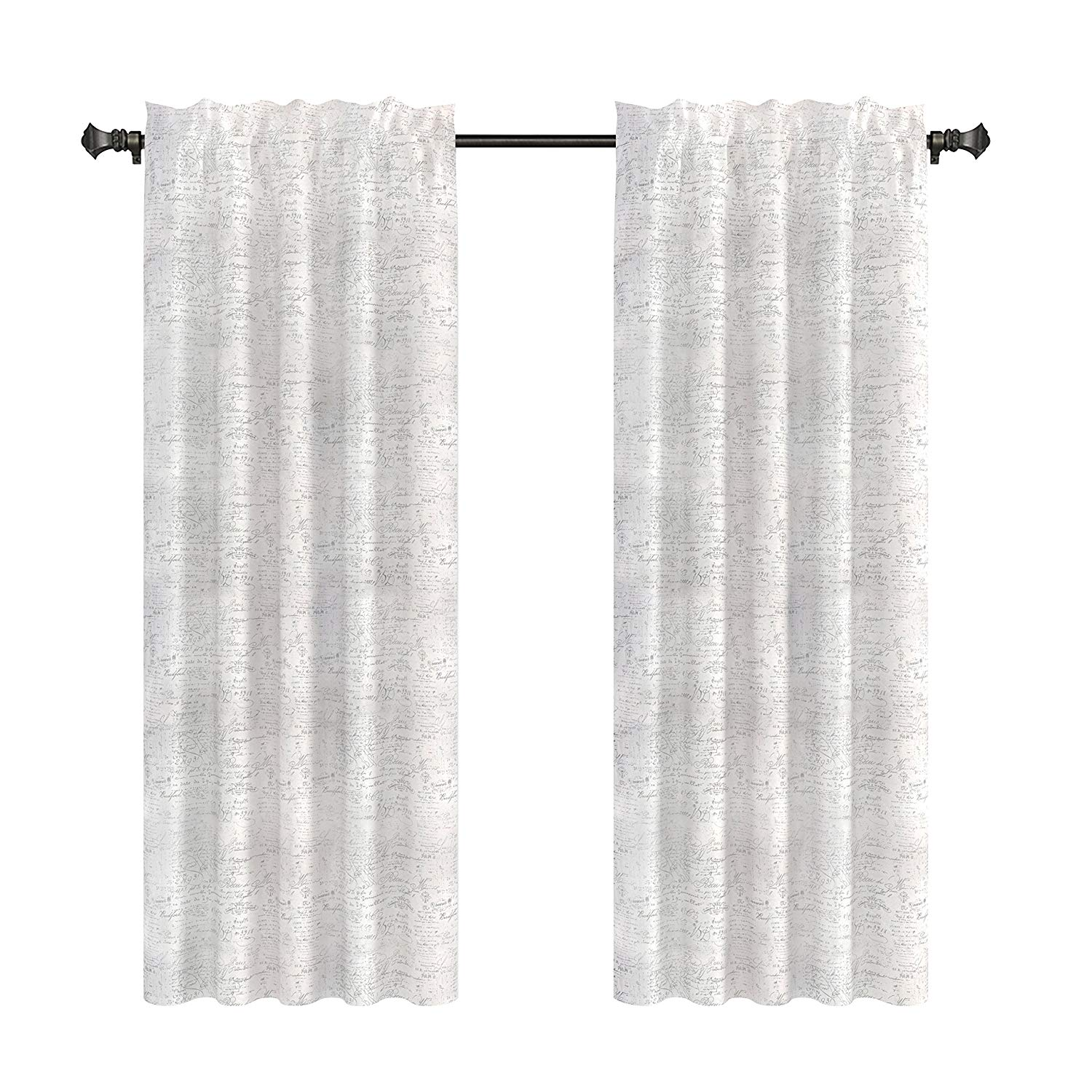 Urbanest French Scripted Linen Designer Drapery Curtain Panels(two Panels), Cream, Unlined