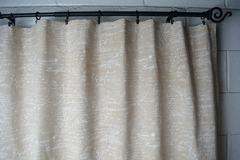 "French Scripted Linen Designer Drapery Curtain Panels(Two Panels), Cream, Unlined(96"")"