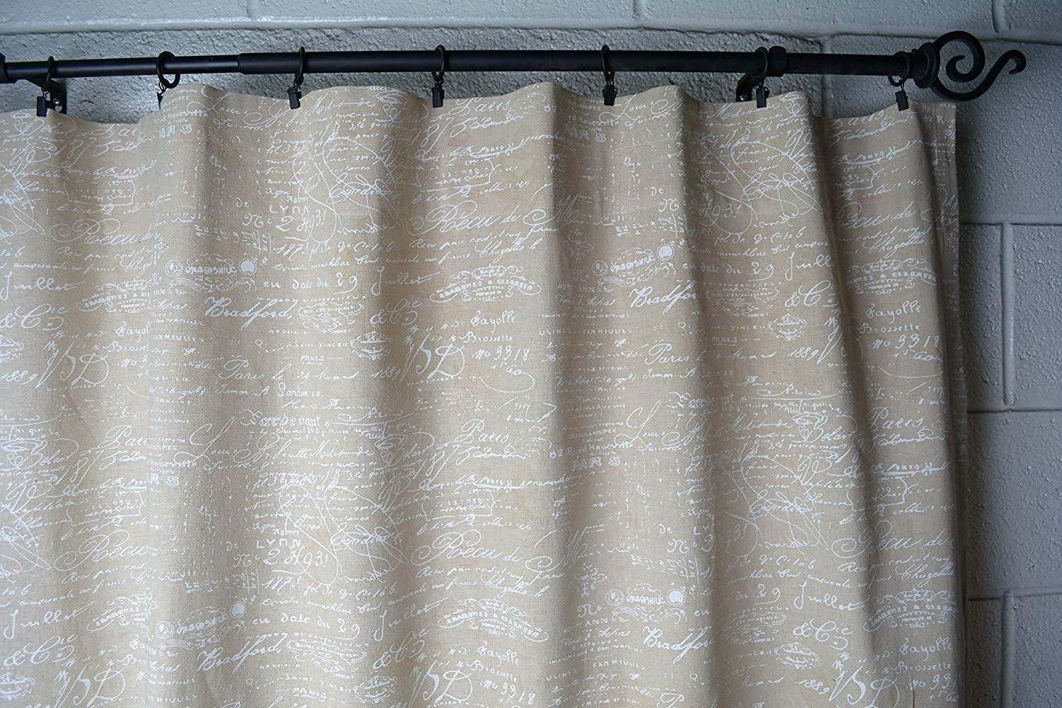 "Urbanest French Scripted Linen Designer Drapery Curtain Panels(Two Panels), Cream, Unlined(84"")"