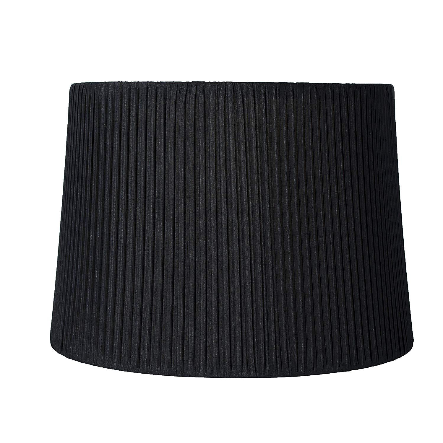 Faux Silk Box Pleated Drum Lampshade, 12-inch By 14-inch By 10-inch, Spider Fitter
