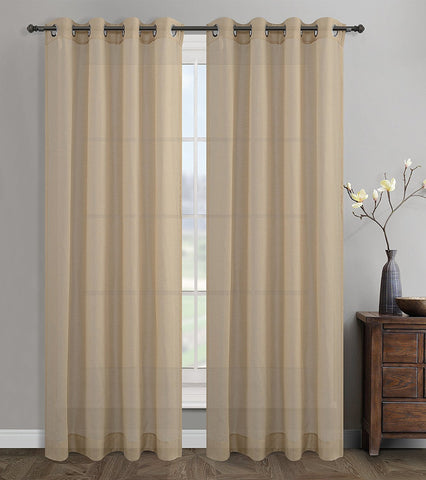 Sahara Set of 2 Linen Sheer Curtain Drapery Panels with Grommets - 2 Colors