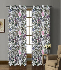 Woodland Set of 2 Faux Linen Sheer Curtain Panels