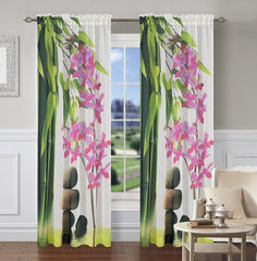 Zen Set of 2 Sheer Art Drapery Curtain Panels