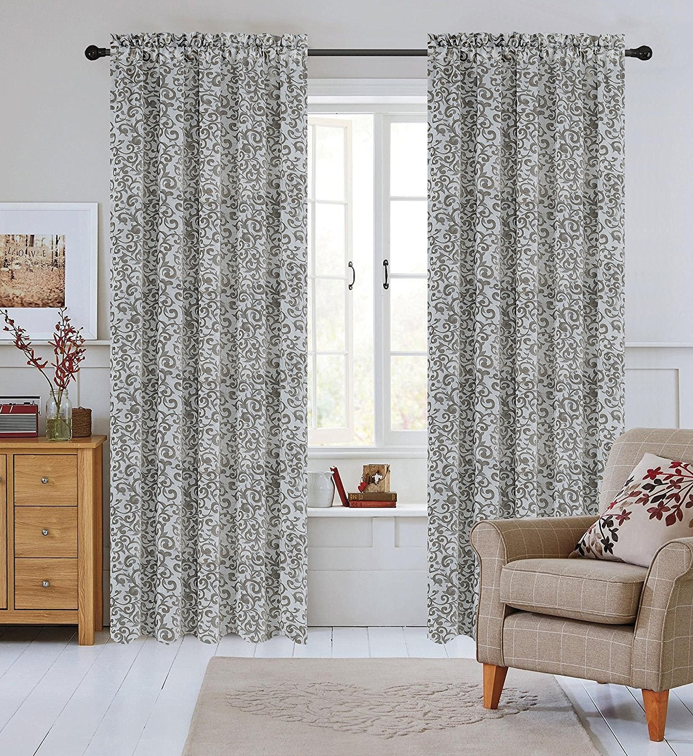 Set of 2 Jacquard Scroll Drapery Curtain Panel - 4 Colors