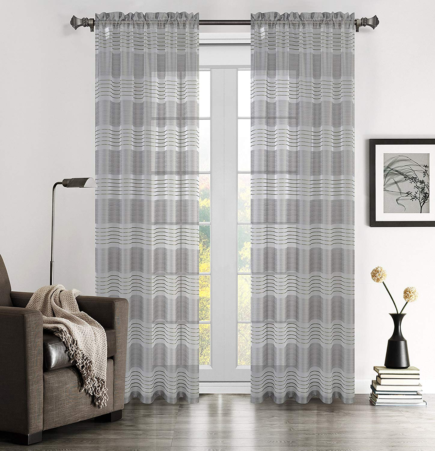 Sahara Set of 2 Linen Sheer Curtain Drapery Panels