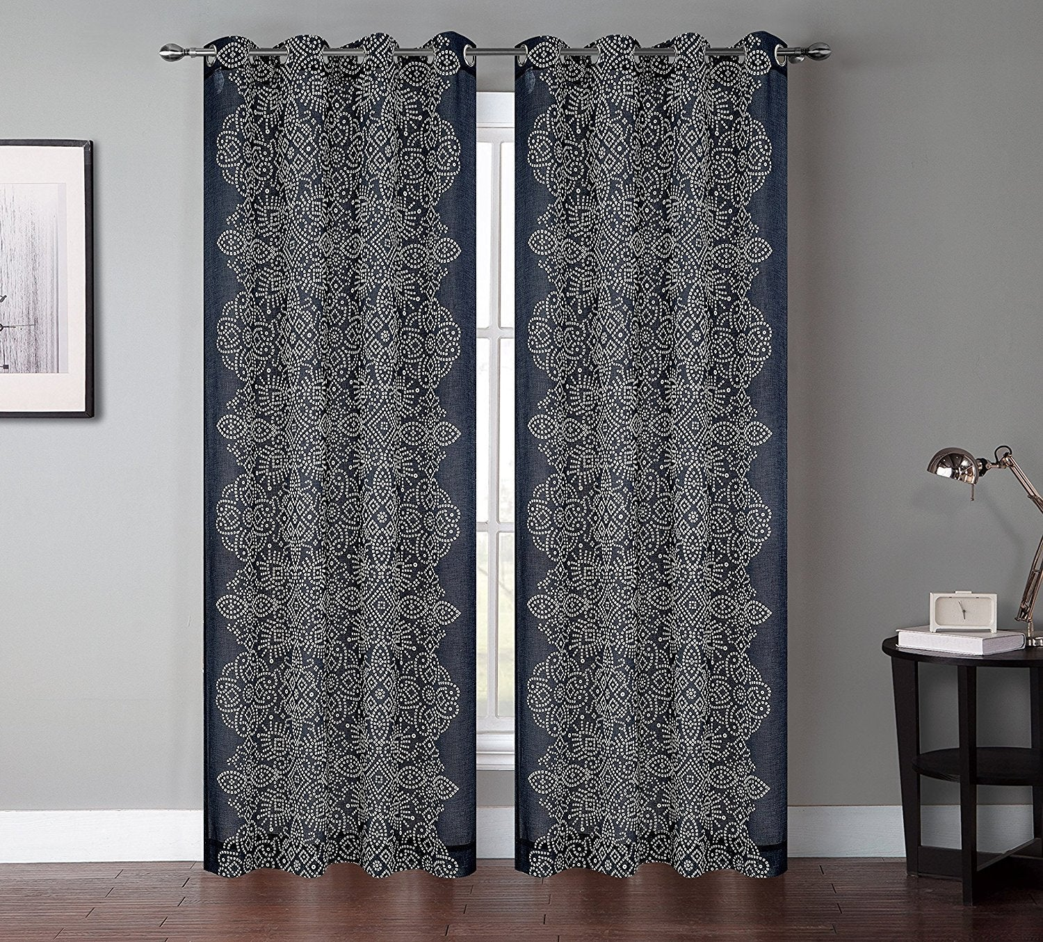 set of 2 bandhini faux linen sheer drapery curtain panels with grommets - Sheer Curtain Panels