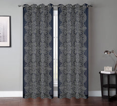 Bandhini Faux Linen Sheer Drapery Curtain Panels - 2 Colors