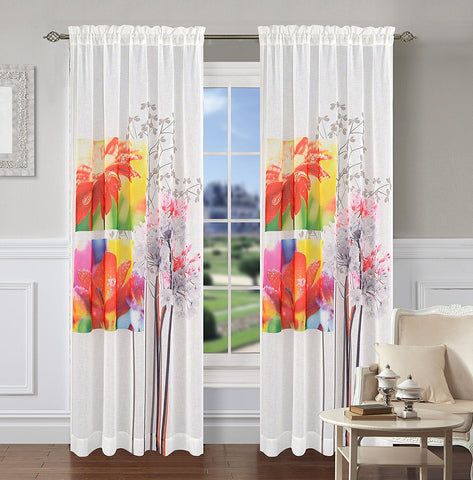Bloomville Set of 2 Sheer Art Drapery Curtain Panels